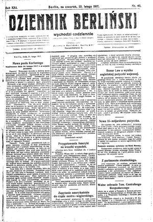 Dziennik Berliński vom 22.02.1917