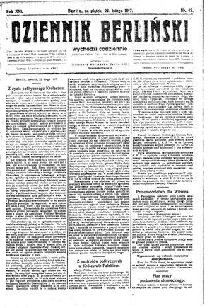 Dziennik Berliński vom 23.02.1917