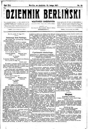 Dziennik Berliński vom 25.02.1917