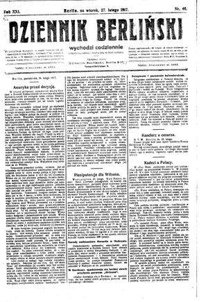 Dziennik Berliński vom 27.02.1917