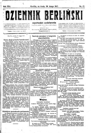Dziennik Berliński vom 28.02.1917