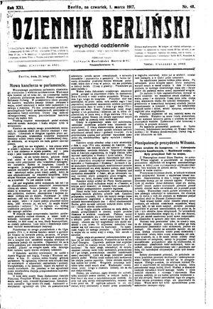 Dziennik Berliński vom 01.03.1917