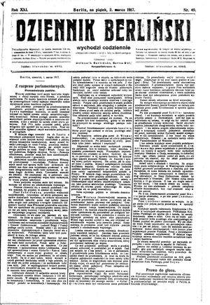 Dziennik Berliński vom 02.03.1917