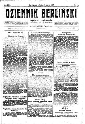 Dziennik Berliński vom 03.03.1917