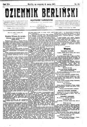 Dziennik Berliński vom 08.03.1917