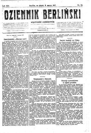 Dziennik Berliński vom 09.03.1917
