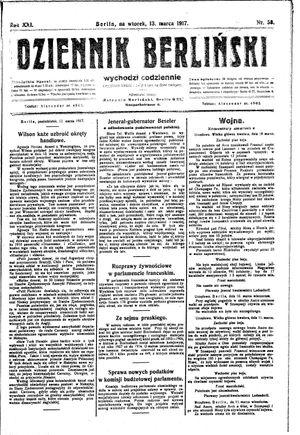 Dziennik Berliński vom 13.03.1917