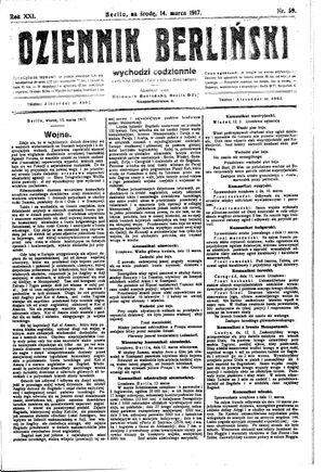 Dziennik Berliński on Mar 14, 1917