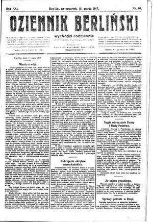 Dziennik Berliński vom 15.03.1917