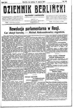 Dziennik Berliński vom 17.03.1917
