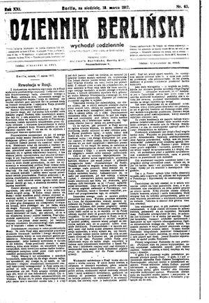 Dziennik Berliński on Mar 18, 1917