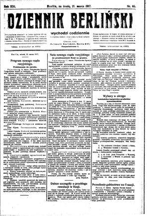 Dziennik Berliński vom 21.03.1917