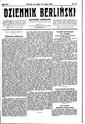 Dziennik Berliński vom 23.03.1917