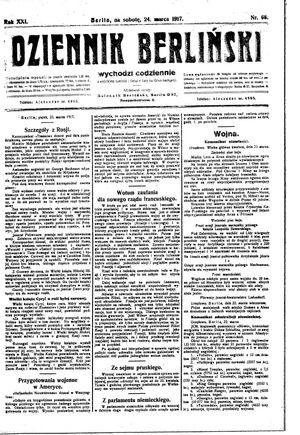 Dziennik Berliński on Mar 24, 1917