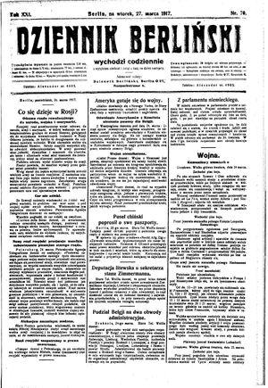 Dziennik Berliński vom 27.03.1917