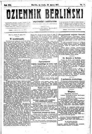 Dziennik Berliński vom 28.03.1917