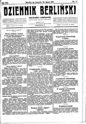 Dziennik Berliński vom 29.03.1917
