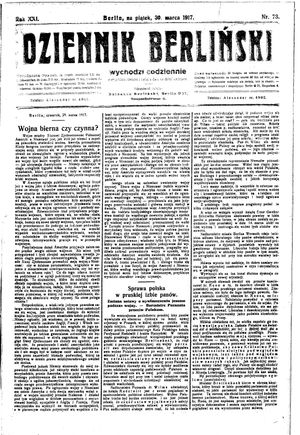 Dziennik Berliński vom 30.03.1917