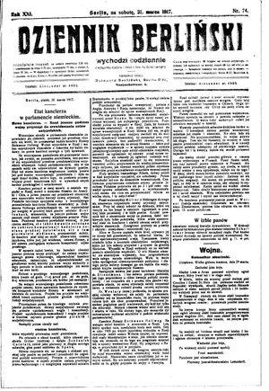 Dziennik Berliński on Mar 31, 1917