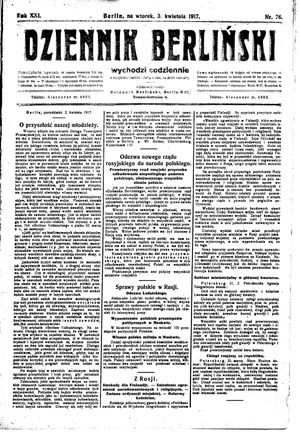 Dziennik Berliński vom 03.04.1917