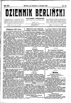 Dziennik Berliński vom 08.04.1917