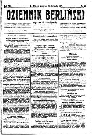 Dziennik Berliński vom 12.04.1917