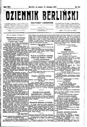 Dziennik Berliński vom 13.04.1917