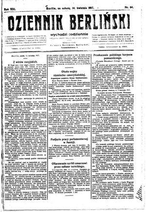 Dziennik Berliński vom 14.04.1917