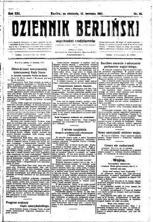 Dziennik Berliński vom 15.04.1917