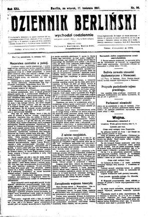 Dziennik Berliński vom 17.04.1917