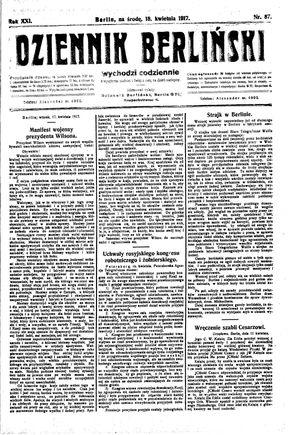 Dziennik Berliński vom 18.04.1917