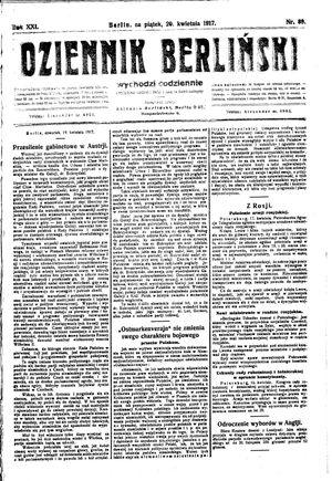 Dziennik Berliński vom 20.04.1917