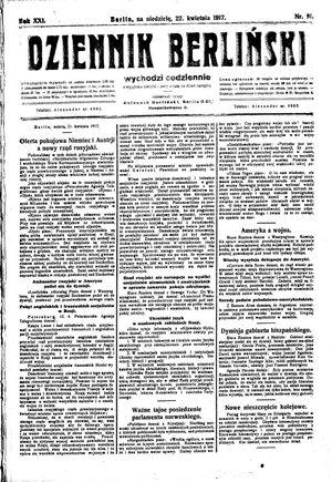 Dziennik Berliński vom 22.04.1917