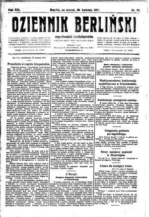 Dziennik Berliński vom 23.04.1917