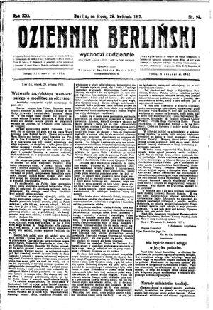 Dziennik Berliński vom 25.04.1917