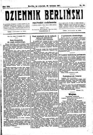 Dziennik Berliński vom 26.04.1917