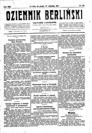 Dziennik Berliński vom 27.04.1917