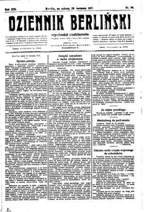 Dziennik Berliński vom 28.04.1917