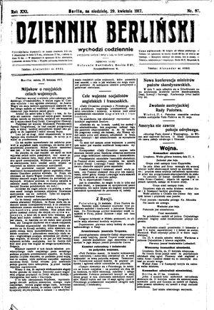 Dziennik Berliński vom 29.04.1917