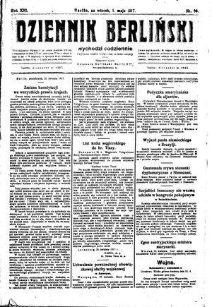 Dziennik Berliński vom 01.05.1917