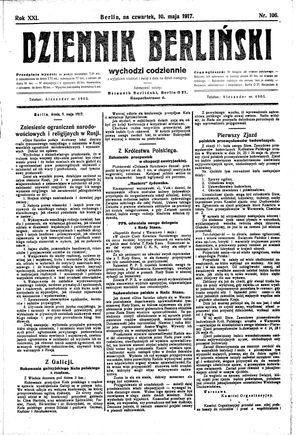 Dziennik Berliński vom 10.05.1917