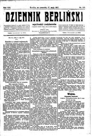 Dziennik Berliński on May 17, 1917