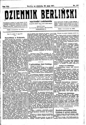 Dziennik Berliński vom 20.05.1917