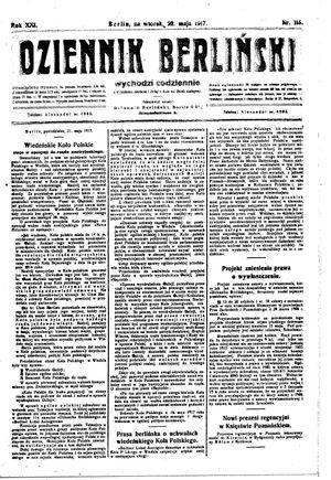 Dziennik Berliński vom 22.05.1917