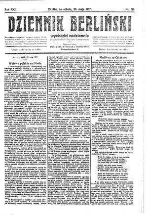 Dziennik Berliński vom 26.05.1917