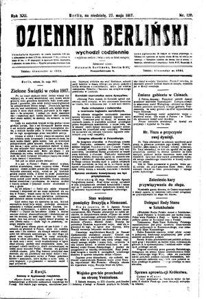 Dziennik Berliński vom 27.05.1917