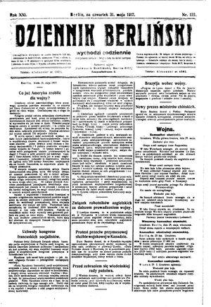 Dziennik Berliński vom 31.05.1917