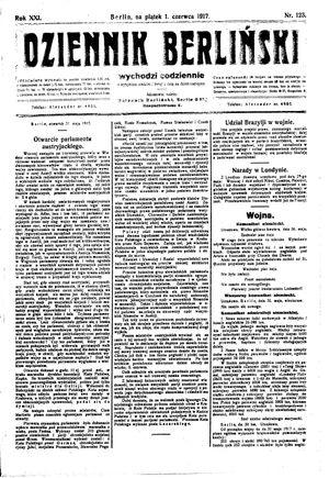 Dziennik Berliński vom 01.06.1917