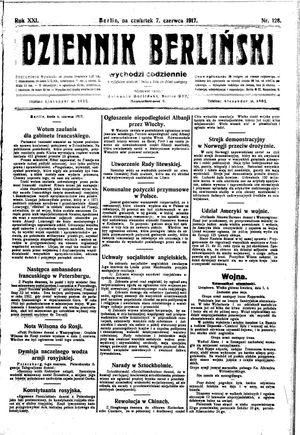 Dziennik Berliński vom 07.06.1917
