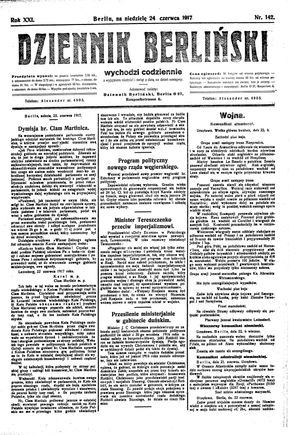 Dziennik Berliński on Jun 24, 1917